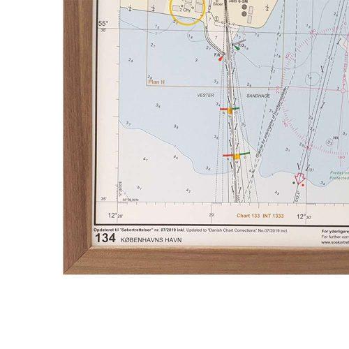 Søkort til væggen 134 Københavns Havn ramme i valnød geodatastyrelsen (2)