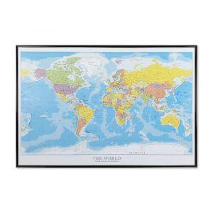 Stort verdenskort, Kort til nålemærkning sort ramme