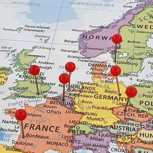 världskarta för nålar europa Kort til nålemærkning