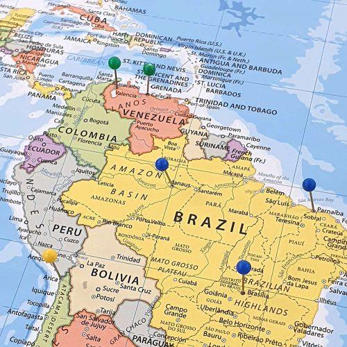 världskarta för kartnålar sydamerika