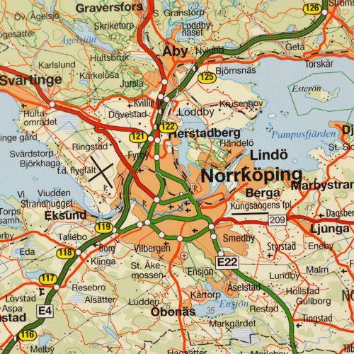 Karta över Östergötlands län för nålar närbild