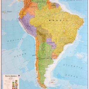 Stor väggkarta över Sydamerika