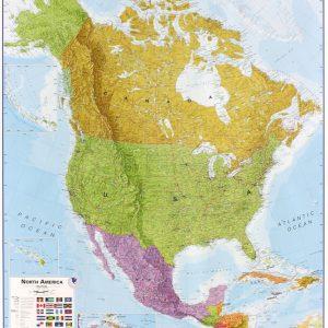 Stor väggkarta över Nordamerika