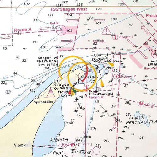 Søkort til væggen 92 Skagen Nordsøen Hirtshals-Hanstholm sort ramme KMS00092