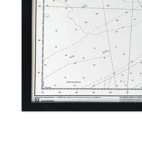 Søkort til væggen 92 Skagerrak Nordsøen Hirtshals-Hanstholm sort ramme KMS00092 (2)