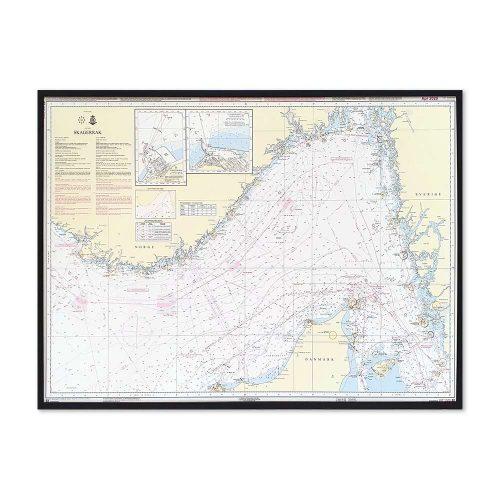 Søkort til væggen 92 Skagerrak Nordsøen Hirtshals-Hanstholm sort ramme KMS00092
