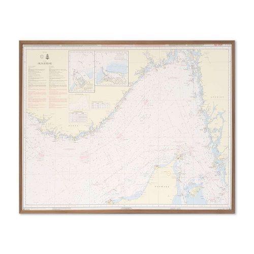 Søkort til væggen 92 Skagerrak Nordsøen Hirtshals-Hanstholm valnød ramme KMS00092