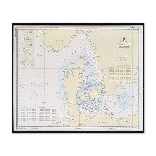 Søkort til væggen D Fiskeri- og territorialgrænser Sort ramme KMS0000D