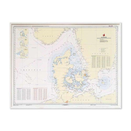 Søkort til væggen D Fiskeri- og territorialgrænser hvid ramme KMS0000D