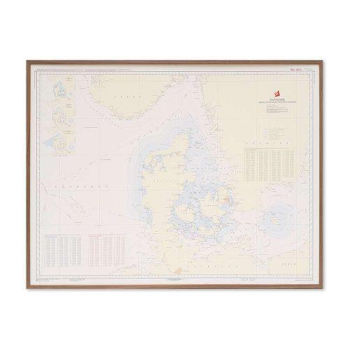Søkort til væggen D Fiskeri- og territorialgrænser valnød ramme KMS0000D
