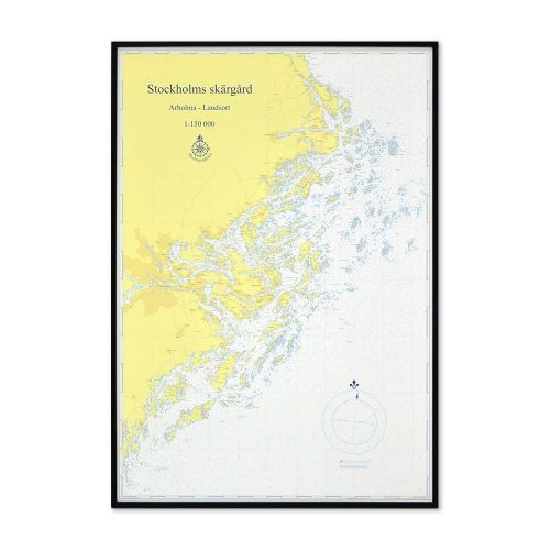 sjökort-stockholms-skärgård-för-vägg-hydrographica-svart-ram