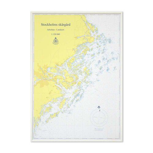 sjökort-stockholms-skärgård-för-vägg-hydrographica-vit-ram-bild-produkt