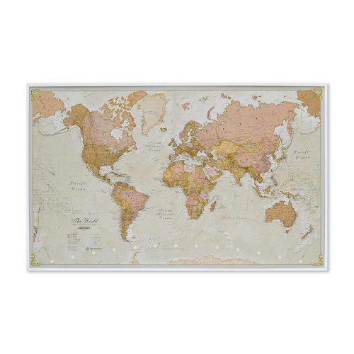 stor världskarta med vit ram för väggen över världen antik för nålar