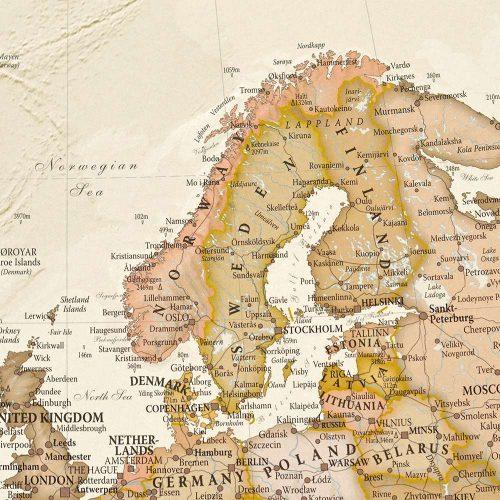 världskarta antik för nålar skandinavien