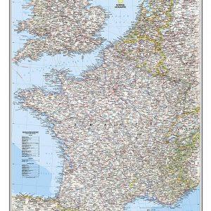 Stor karta över Frankrike, Belgien och Nederländerna för nålar 9780792249658