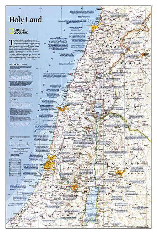 Stor karta över Heliga landet för nålar National geographic