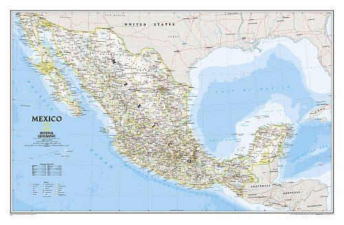 Stor karta över Mexico för markering med nålar från National geographic
