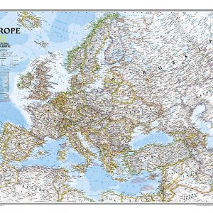 Stor karta för väggen över Europa från National geographic 9780792281115