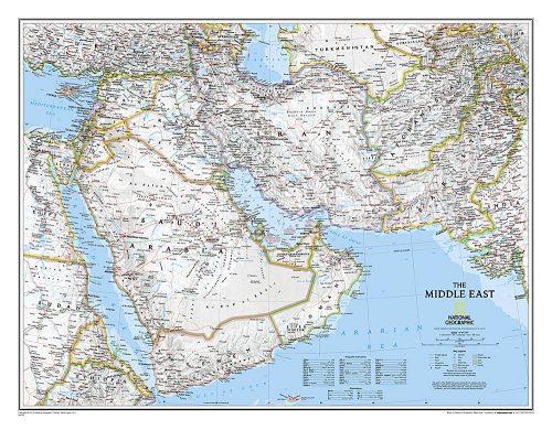 Stor karta över Mellanöstern för nålmarkering frånNational geographic