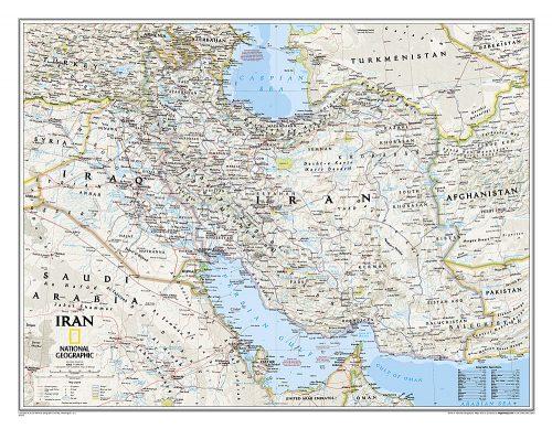 Stor karta över Iran för nålar