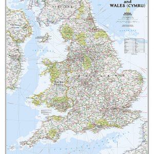 Stor karta för väggen över England och Wales för nålar från National geographic 9781597754873