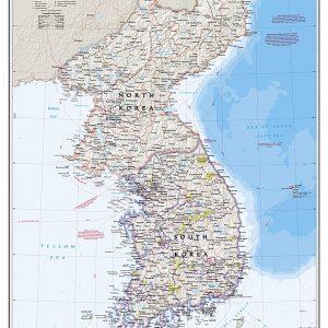 karta för nålar över Nordkorea och Sydkorea