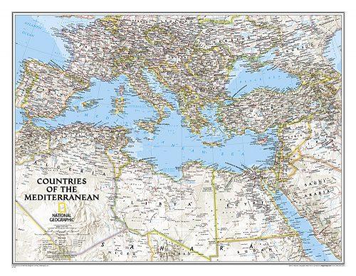 Stor karta för väggen över Medelhavsländerna för markering med nålar