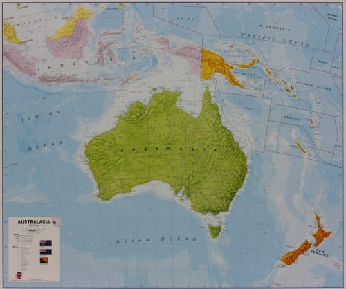 stor karta Australien för markering med nålar