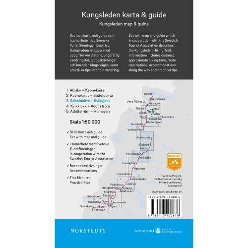 Kungsleden 3 Saltoluokta Kvikkjokk karta och guide Outdoorkarta baksida 9789113100876