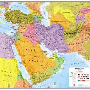 stor karta över mellanöstern för väggen