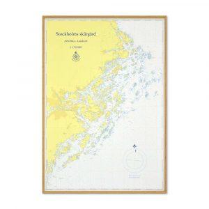 Sjökort Stockholms skärgård för vägg Hydrographica Ek ram