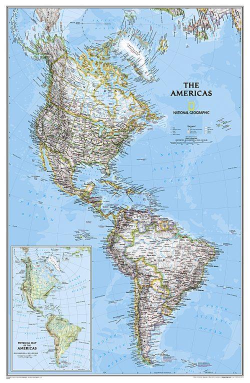 Stor karta över Nord & Syd Amerika för nålar (NG) 9780792249924