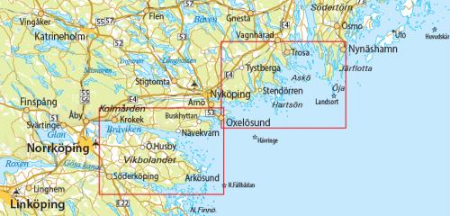karta-Nynäshamn-Oxelösund-Arkösund