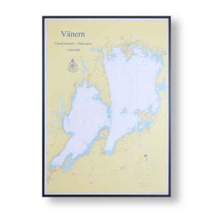sjökort-vänern-för-väggen-hydrographica-svart-ram-70cm-100cm
