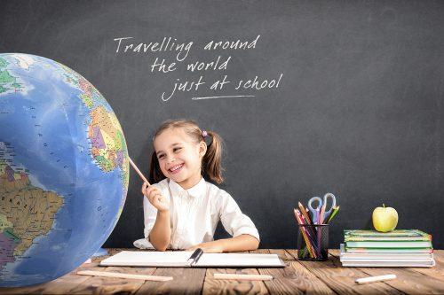 Uppblåsbar Jordglob för undervisning / Sittboll / Balansboll 75 cm i textil Använd den hemma, på kontoret eller i skolan. 8717953190505