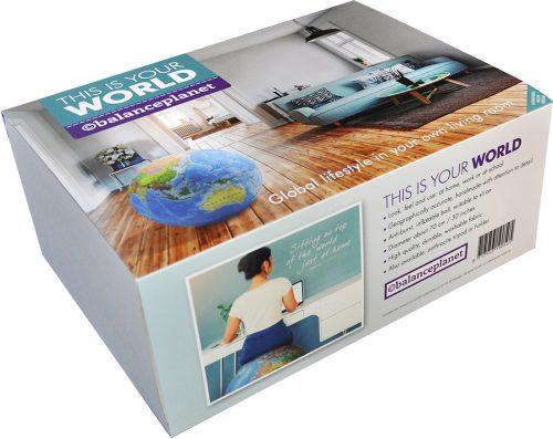 Uppblåsbar Jordglob / Sittboll / Balansboll 75 cm i textil Använd den hemma, på kontoret eller i skolan. 8717953190505