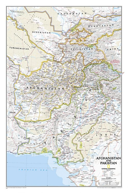 Väggkarta över Afghanistan/Pakistan poster