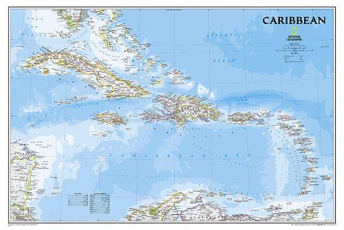 vaggkarta-over-vastindien-karibien-poster