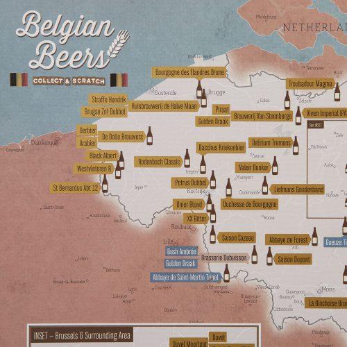 Skrapkarta över Belgiska bryggerier för ölälskaren