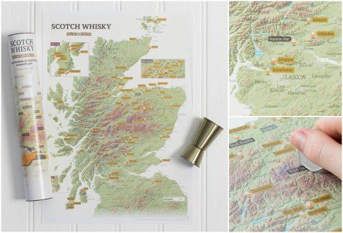 En skrapkarta över Whiskydestillerier i Skottland