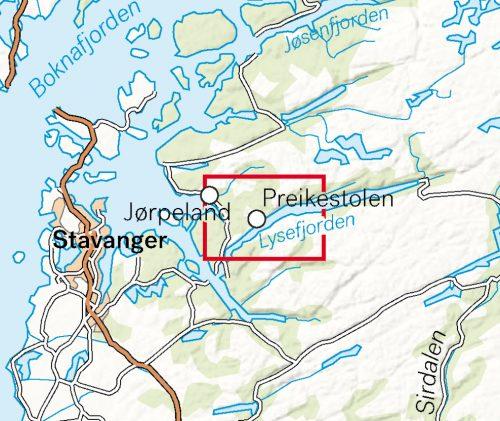 Høyfjellskart Preikestolen calazo zoom